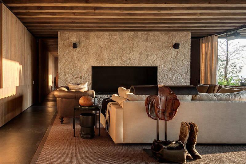 salón rustico de estilo moderno