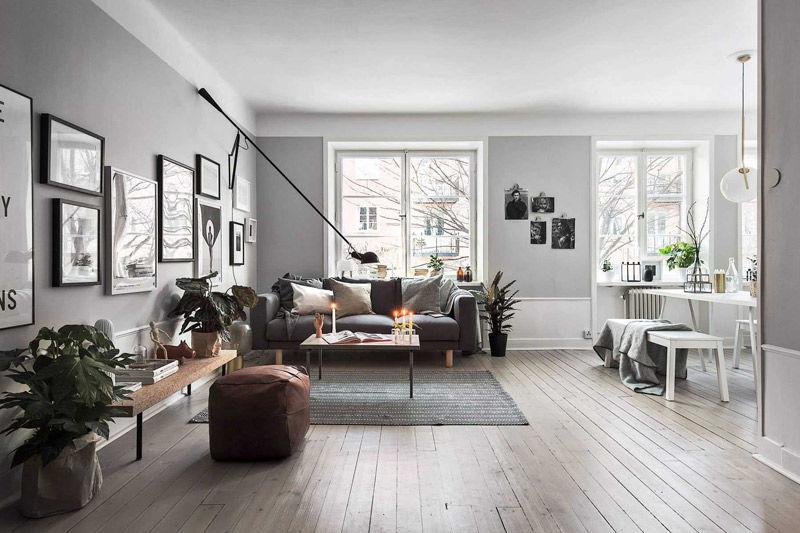 Decoración de salones con paredes grises