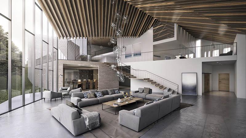 techo de madera de diseño en un salón de estilo moderno
