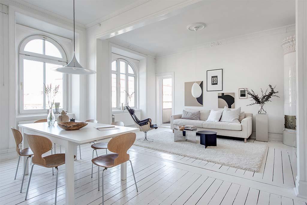 15 salones en blanco que quitan el hipo nomadbubbles for Muebles para oficina estilo minimalista