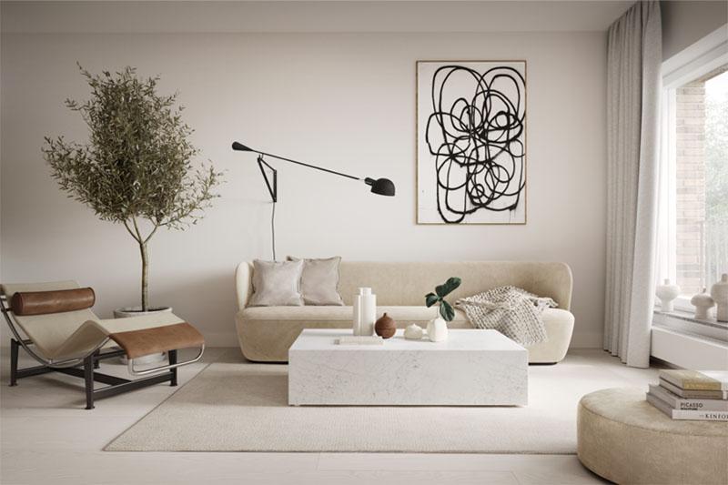 Decoración de salones de diseño y estilo moderno