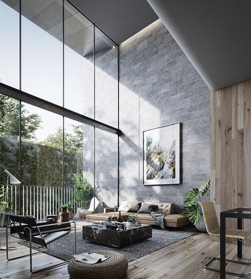 Un salón de diseño moderno