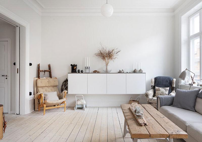 cómo decorar un salón rústico nórdico