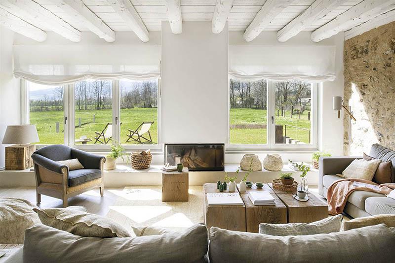 ideas para decorar una casa de campo con muebles de madera y accesorios naturales