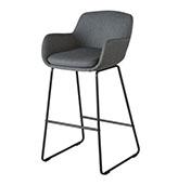 silla de bar vintage de color gris oscuro