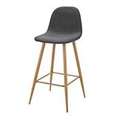 silla de bar vintage de color gris oscuro con patas de madera
