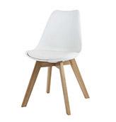 silla blanca de estilo nordico con patas de madera