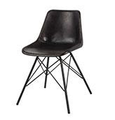silla de cuero negro de estilo industrial