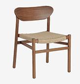 silla de madera de nogal tapizada