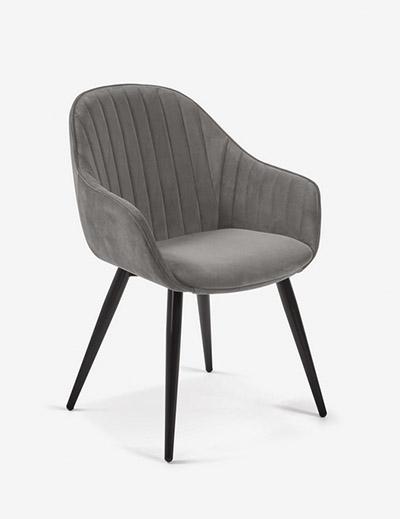 silla terciopelo comedor gris