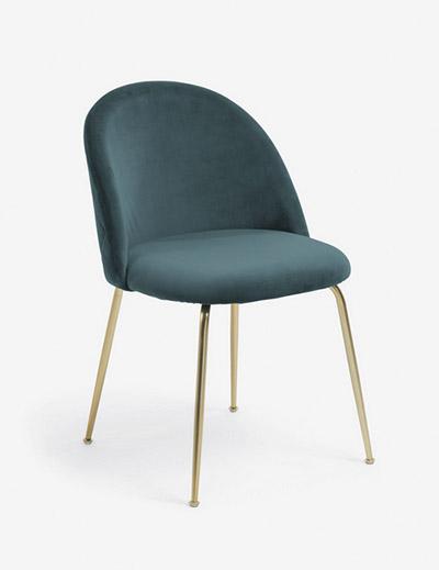silla terciopelo verde patas doradas
