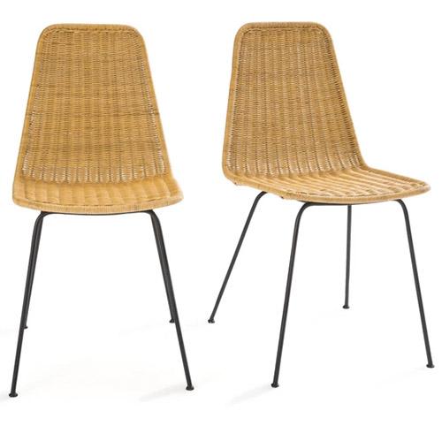 sillas de ratán y patas de metal negro
