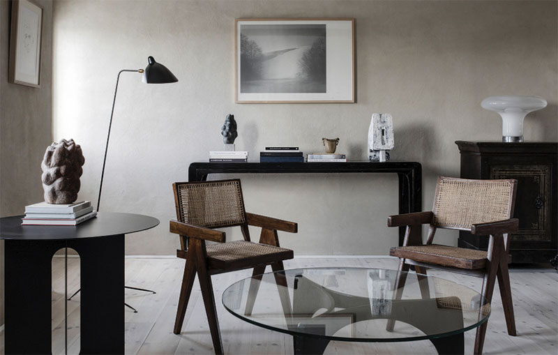 muebles de diseño en un salón de estilo nórdico