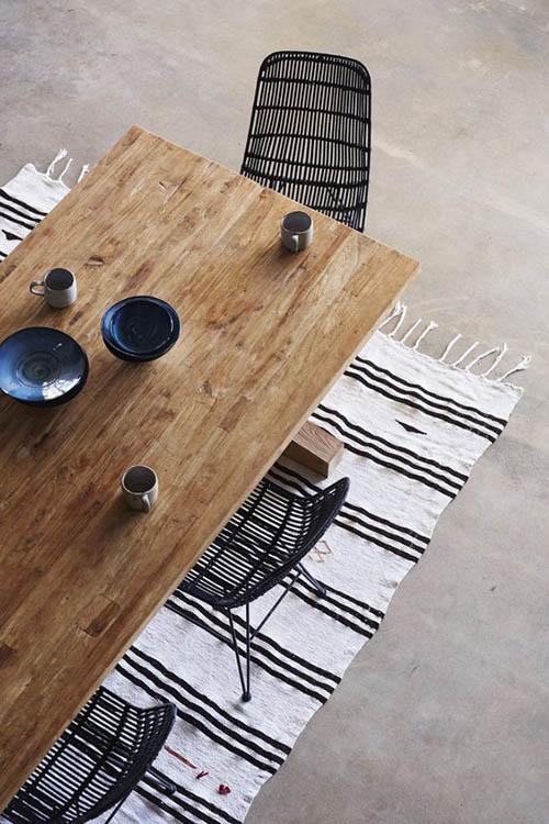 decoración de comedores con muebles de mimbre