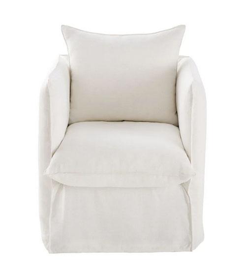 sillón de lino blanco