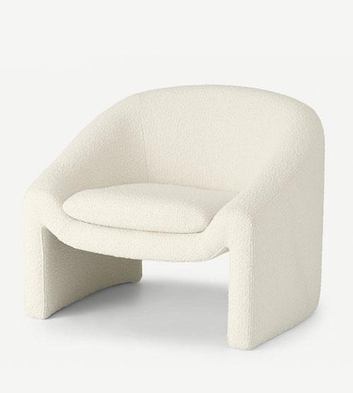 Sillón de diseño y estilo moderno tapizado blanco