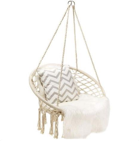 silla hamaca colgante con cojín y manta