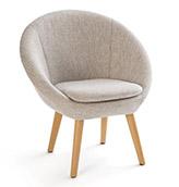 sillón redondo de tela de color gris claro
