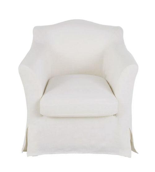 sillón de tela de lino blanca