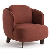 sillón tapizado de color burdeos