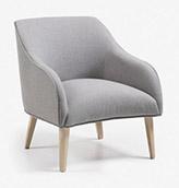 sillón estilo nordico de tela gris claro