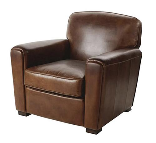 sillon de cuero marron