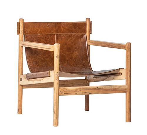 sillon de cuero y madera