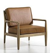 sillón de piel de diseño escandinavo vintage