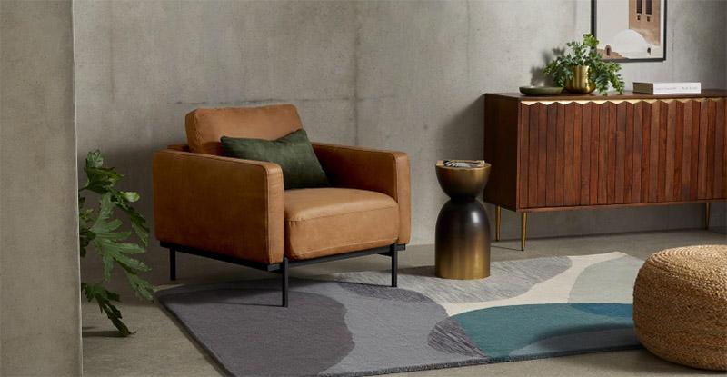 sillón de piel de cuero para una decoración de estilo industrial