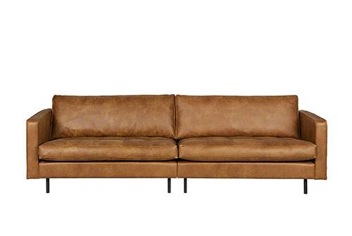 sofá 3 plazas de cuero de color cognac