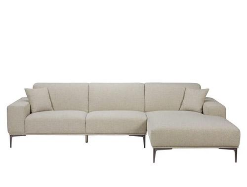 sofá esquinero tela gris claro