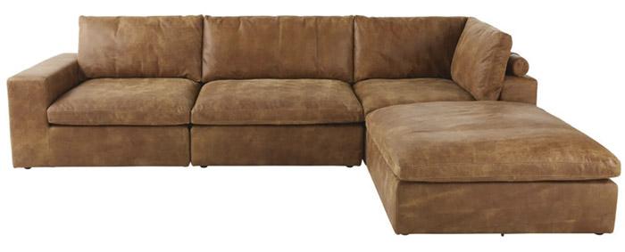 sofá esquinero de piel marrón