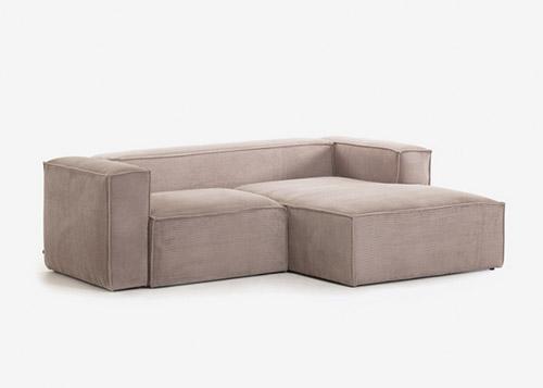 Sofá rosa 2 plazas chaise longue