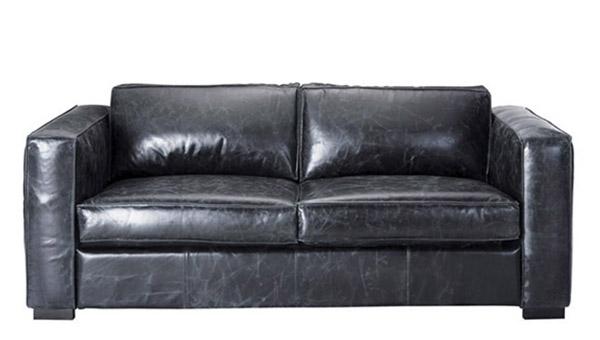 sofá cama de cuero negro