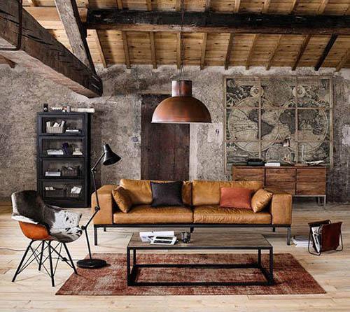 muebles vintage para decorar un salón de estilo industrial