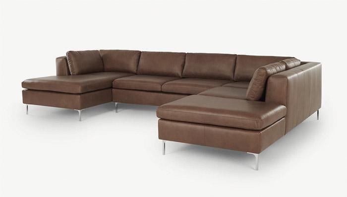 sofá esquinero de cuero marrón