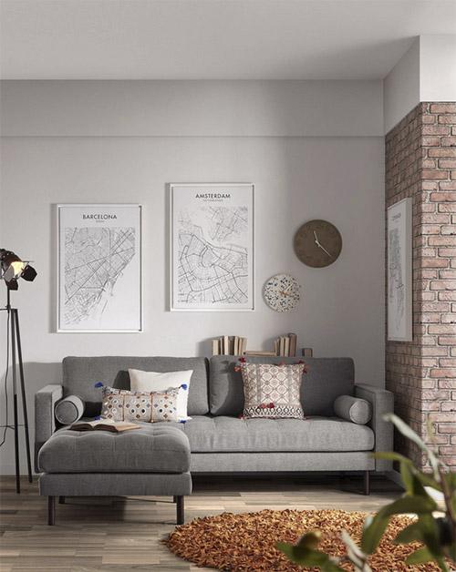 sofá estilo nórdico para decorar el salón de casa