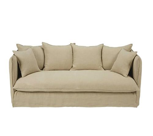 sofa lino beige 3 plazas