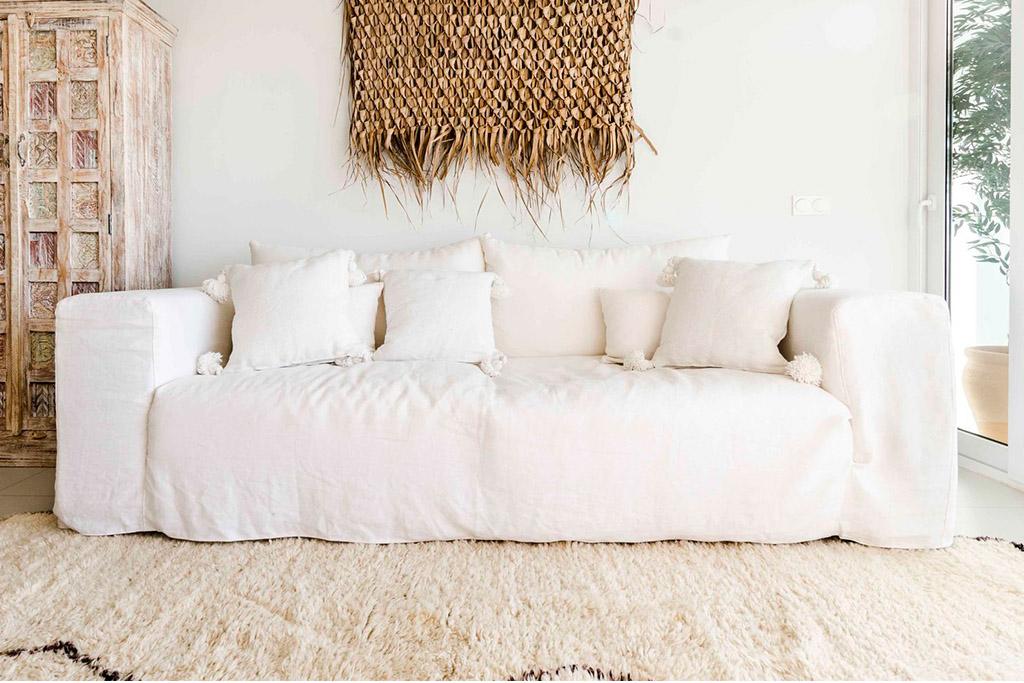 sofá de lino