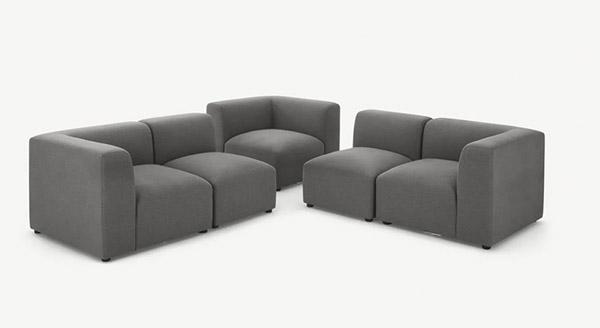 sofá seccional esquinero de tela gris