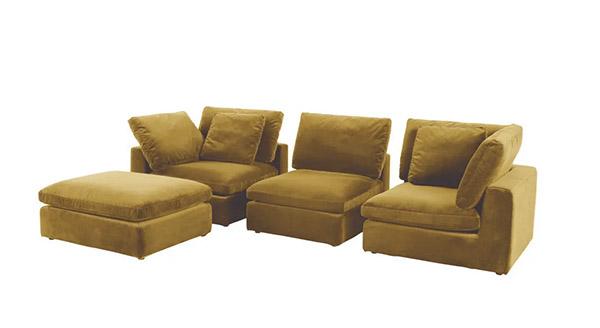 sofa seccional de terciopelo