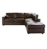 sofá de piel de cuero marrón oscuro