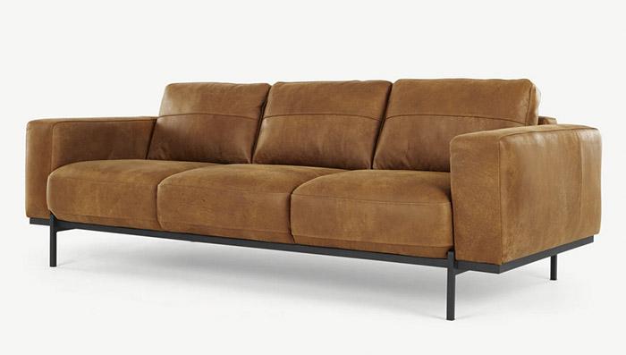 sofá de diseño moderno de cuero marrón
