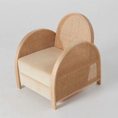 Sofa de diseño de madera y ratán