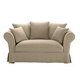 sofá de dos plazas de lino de estilo rústico
