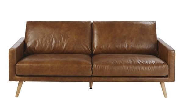 sofá de 3 plazas de piel marrón