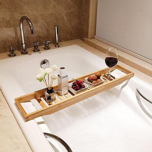 bandeja para bañera de madera de bambú