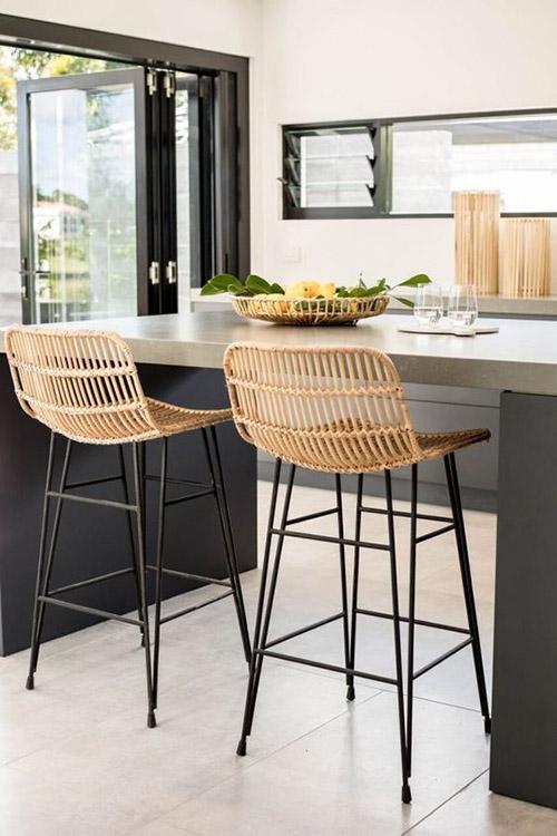 muebles de ratán para la cocina