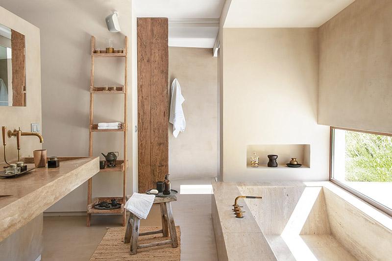 taburete madera baño