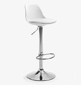 silla de bar regulable de color blanco y pata de metal